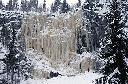An ice wall in the middle of an uneven cliff face. There are trees both on top and at the foot of the cliff.