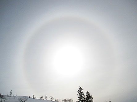 Halo on the slope of Sokosti fell in April. Photo: Kristiina Aikio