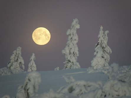 Full moon in Kiertämäpää fell. Photo: Petteri Polojärvi