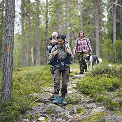 A family with a dog and a child sitting in a child carrier backpack walking towards the camera along a stony and sloping trail.