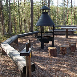 A fire pit surrounded by wooden benches. Coniferous trees in the background.