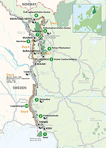 """From the Bothnian Bay to the high fells of Arctic Lapland"" touring route"