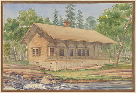 A painting of the Langinkoski Imperial Fishing Lodge. Photo: Magnus Schjerfbeck (illustrator). The Picture Collection of Built Heritage, National Board of Antiquities.