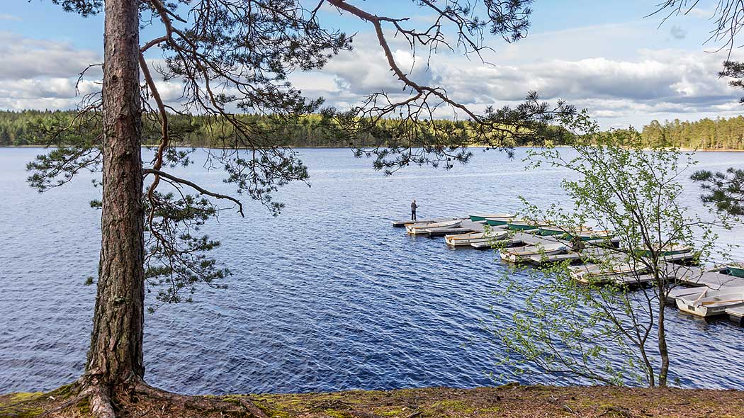 A person standing on a dock. Several rowing boats are tied to the dock. A lake landscape opens up behind the dock and coniferous forest can be seen on the horizon.
