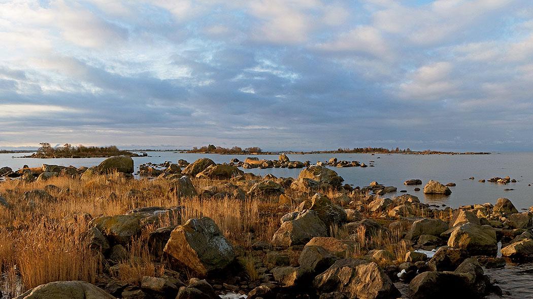 Kvällssolen färgar havslandskapet. I stranden finns stora kantiga stenar och torrt gräs.