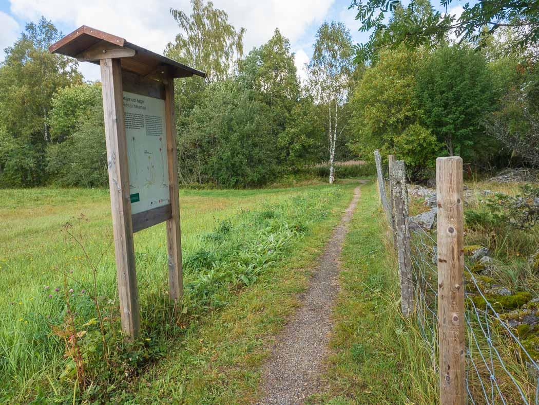 Längs naturstigen finns infotavlor. Foto: Tuija Warén.
