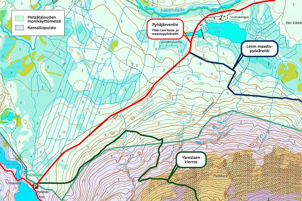 Karttakuva, johon on merkitty hakkuualueen läheisyydessä kulkevat reitit.