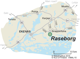 Map of the surroundings of Raseborg Castle Ruin