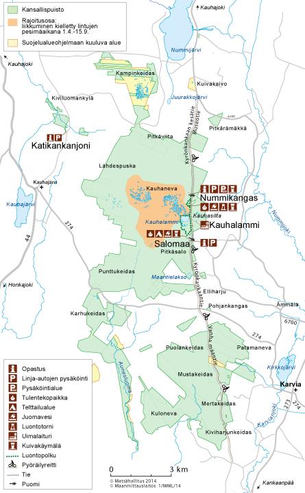 Kauhaneva-Pohjankankaan kartta