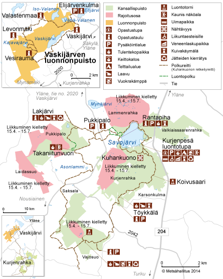 Kurjenrahkan kansallispuiston kartta © Metsähallitus 2015
