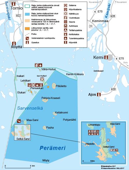 Perämeren kansallispuiston kartta © Metsähallitus
