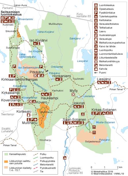 helvetinjärvi reitit
